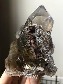 1.7Lb Rutilated Quartz Crystal Smoky Quartz Cluster Druzy Quartz Brazil Rutile