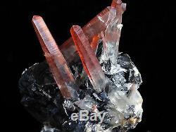 1.8Lbs Black Hematite & Red Quartz Cluster Mineral From Jinlong Mine, China