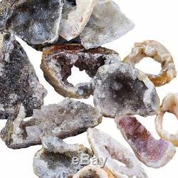 1 LB AGATE Slices GEODE Lot Slab Quartz Rough Crystal Cluster Large Slice BRAZIL