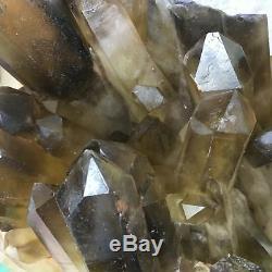 10.45LB Natural smokey CITRINE quartz cluster specimen crystal healing S6301-4