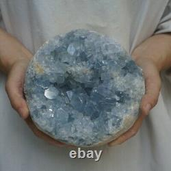 10.75LB Natural Baby Blue Celestite Quartz Crystal Geode Cluster Points Brazil