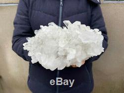 10.7LB Large Natural Clear Quartz Cluster Healing Crystal Point Mineral Specimen