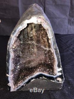 10 Amethyst Geode Quartz Crystal Cluster Cathedral Decor Specimen BR With Agate