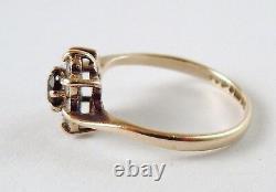 100% Genuine Vintage 9k Yellow Gold Natural Garnet & Quartz Cluster Ring Sz 5 US