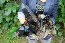 10100g(22.2lb) Natural Beautiful Black Quartz Crystal Cluster Tibetan Specimen