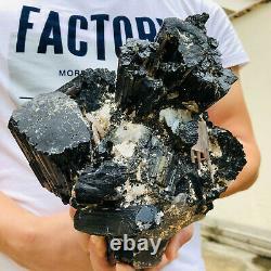 10LB Large Black Tourmaline Quartz Crystal Cluster Raw Mineral Specimens Healing