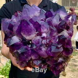 11.94LB Natural Amethyst geode quartz cluster crystal specimen Healing