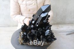 11500g(25.3lb) Natural Beautiful Black Quartz Crystal Cluster Tibetan Specimen