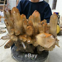 117.26LB Natural Clear SMOKY Quartz Cluster Mineral Crystal point Healing ST2109