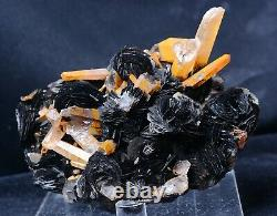 1199g Natural Yellow Crystal Cluster & Flower Shape Specularite Mineral Specimen