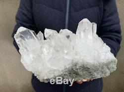 12.1LB Large Natural Clear Quartz Cluster Healing Crystal Point Mineral Specimen
