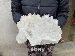 12.8LBS Clear Natural Beautiful White QUARTZ Crystal Cluster Specimen TQS02