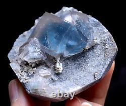 124g New Find Transparent Blue Cube Fluorite Crystal Cluster Mineral Specimen