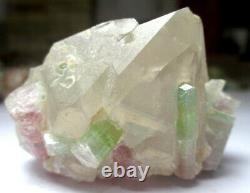 125 Grams Beautiful Bi Color Tourmaline Bunch With Quartz Combine From Afg