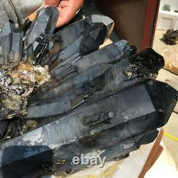12520g Huge Natural Black Quartz Crystal Cluster Rough Healing Specimen