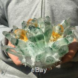 1275g Huge Clear Green Phantom Quartz Crystal Cluster Healing Mineral Specimen