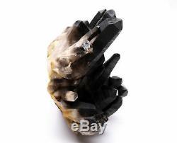 13.6lb Natural Clear Black Quartz Point Crystal Cluster Healing Mineral Specimen