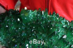 13.7LB Rainbow Green Aqua Aura Titanium Coating Quartz Crystal Cluster Points