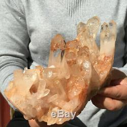 1320g Large Natural Clear Pink Quartz Crystal Cluster Rough Healing Specimen