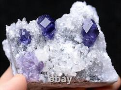 135.6g Natural Blue Purple FLUORITE Quartz Crystal Cluster Mineral Specimen