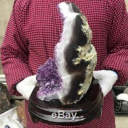 14.9LB Natural amethyst cluster quartz crystal geode specimen healing+standUN189