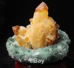 1407g New Green Phantom And Yellow Quartz Crystal Cluster Specimen