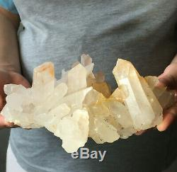 1413g Large Natural White Quartz Crystal Cluster Rough Specimen Healing