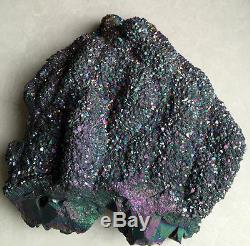 1451g Rainbow Flame Aura Quartz Titanium amethyst Crystal Cluster Healing C412
