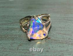 14kt Yellow Gold Freeform Crystal Opal Women's Ring Size 7