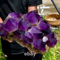 15.62LB Natural Amethyst geode quartz cluster crystal specimen Healing SSE999