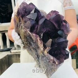15.8LB Natural Amethyst Quartz Geode Druzy Crystal Cluster Healing Uruguay M653