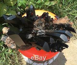 15.8lbNatural Rare Beautiful Black QUARTZ Crystal Cluster Mineral Specimen