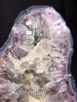 15 Amethyst Geode Quartz Crystal Cluster Cathedral Decor Specimen BR With Agate