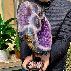 16.19LB Natural Amethyst geode quartz cluster crystal specimen Healing
