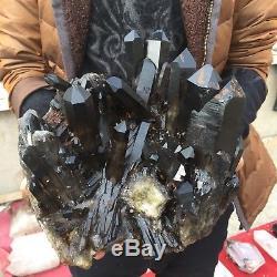 16.6lb 6.3 Natural Rock Beautiful Black Quartz Crystal Cluster Specimen CW39
