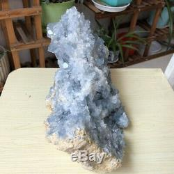 16.9LB Natural blue celestite geode Crystal Cluster Mineral Specimen Collection
