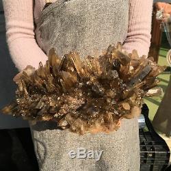 17.02LB Natural smoky citrine quartz cluster crystal specimen healing ATD85-GA