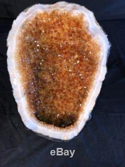17 Qual AAA CITRINE Geode Quartz Crystal Cluster Cathedral Specimen AMETHYST