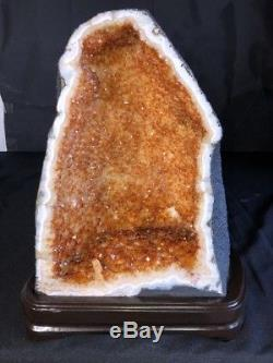 17 Qual. AAA Cathedral CITRINE Geode Quartz Crystal Cluster Amethyst