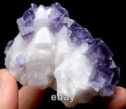 173g NATURAL Purple Cubic FLUORITE Quartz Crystal Cluster Mineral Specimen