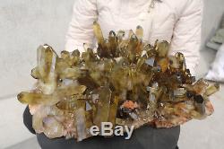 17600g Natural Beautiful Citrine Smoke Quartz Crystal Cluster Tibetan Specimen