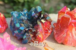 17pcs 1945g AURA Quartz Titanium Crystal Healing Cluster