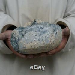 18.32LB Natural Baby Blue Celestite Quartz Crystal Geode Cluster Points Brazil
