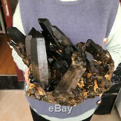 18.5LB Natural smokey quartz cluster crystal specimen healing