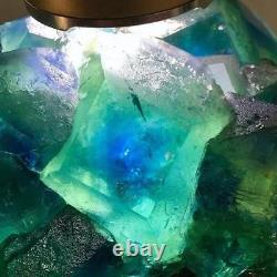 1870g Rare Larger Particles Blue/Green FLUORITE Crystal Cluster Based on Matrix