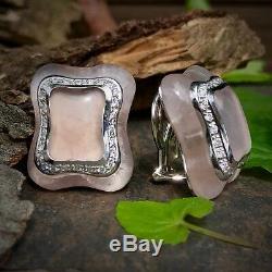18K White Gold Diamond Carved Pink Rose Quartz Balocchi Preziosi Signed Earrings