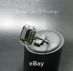 18k gold 18ct White Gold Chrome Tourmaline Ring Size P 5.6g