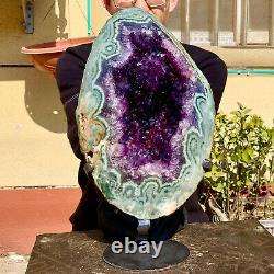19.14LB Natural Amethyst geode quartz cluster crystal specimen Healing