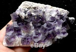 198g NATURAL Purple Cubic FLUORITE Quartz Crystal Cluster Mineral Specimen
