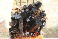19900g(43.8Ib) Natural Beautiful Black Quartz Crystal Cluster Tibetan Specimen